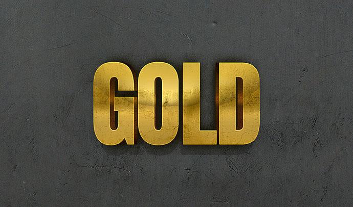 Efecto de texto en oro 3D con estilos de capa de Photoshop